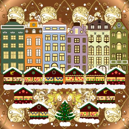 Christmas winter scene. Vector illustration. Evening village winter landscape with snow cove houses. Background. Ilustração