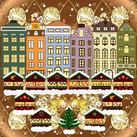 Christmas winter scene. Vector illustration. Evening village winter landscape with snow cove houses. Background. Vettoriali