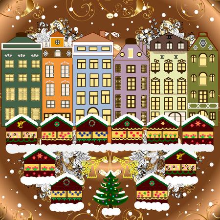 Evening village winter landscape with snow cove houses. Ilustração