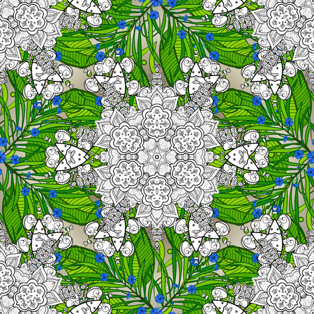 Vector floral illustration in vintage style. Gentle, spring floral on green, white and black colors. Tender seamless pattern with flowers. Vector illustration. Illustration
