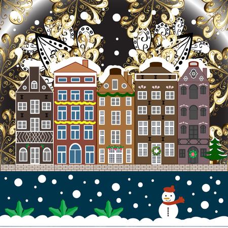 Weihnachtswinter-Szene. Vektor-Illustration. Abenddorf-Winterlandschaft mit Schnee-Buchthäusern. Hintergrund.