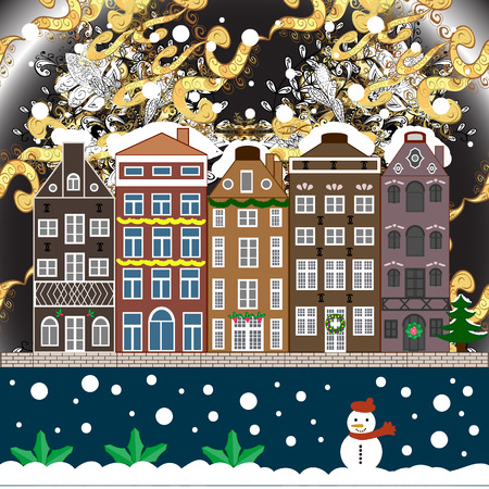 Winter nature landscape. Cute town Christmas eve. Cityscape. Winter houses, road, tree. Winter in the city, christmas decor fir-trees. Vector. Vector. New year holidays. Greeting card, poster design.