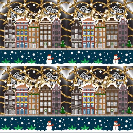 Winter house illustration.