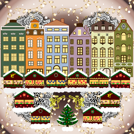 A house in a snowy Christmas landscape at night. Christmas tree and snowman. Concept for greeting or postal card. Vector illustration.