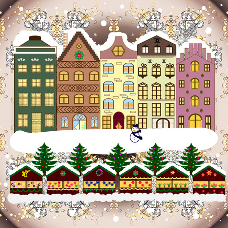 Concept for greeting or postal card. A house in a snowy Christmas landscape at night. Christmas tree and snowman. Vector illustration.