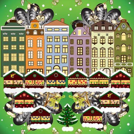 Vector illustration. Background. Winter village landscape.