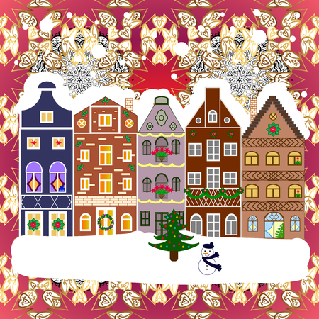 Concept for greeting or postal card. Vector illustration. A house in a snowy Christmas landscape at night. Christmas tree and snowman.