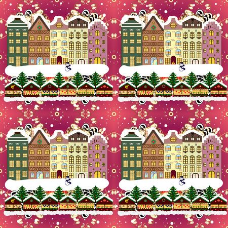 Background. Vector illustration. Christmas winter scene. Evening village winter landscape with snow cove houses.
