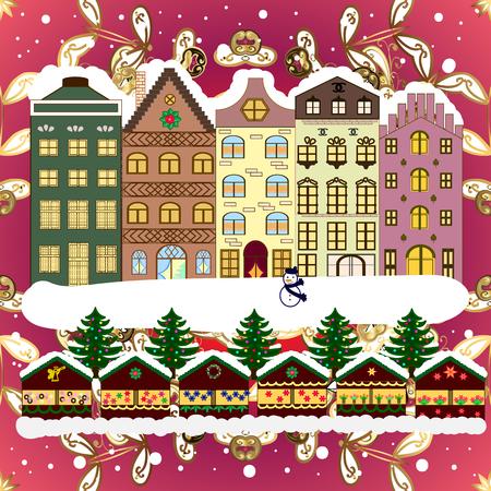 Illustrazione vettoriale Fondo di festa con un albero di Natale e case sopra un fondo. Vettoriali