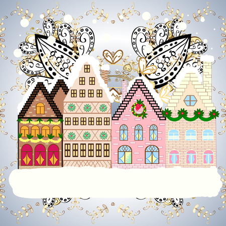 Landscape with nature and houses. Vector illustration. Winter is coming. Holidays Vector illustration. Winter city with trees, cute houses. Nature landscape. Over a background. 일러스트