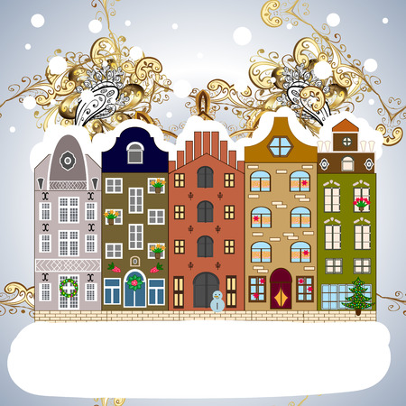 Vector illustration. Snowfall on Christmas eve. Classic European houses landscape with Christmas holiday decorations. Vector illustration. Buildings and facades. Winter day in cosy town street scene.