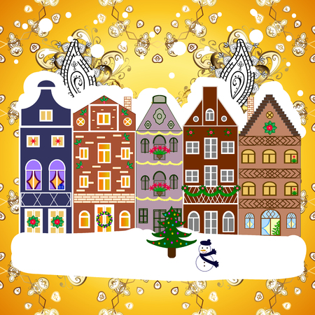 Christmas tree and snowman. Concept for greeting or postal card. A house in a snowy Christmas landscape at night. Vector illustration. Illustration