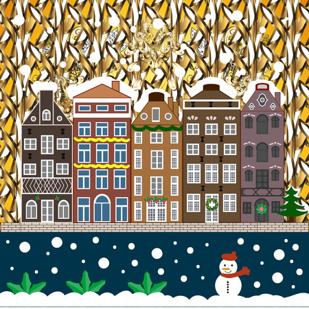 Vector illustration. Christmas landscape flat. Greeting card. Illustration