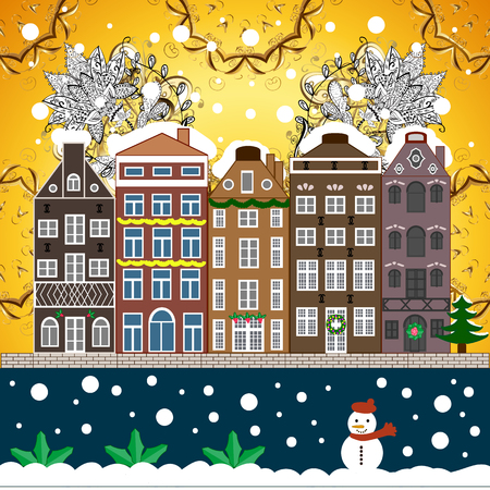 Snowy street. Urban winter landscape. Flat design. Christmas card Happy Holidays banner. Vector illustration.