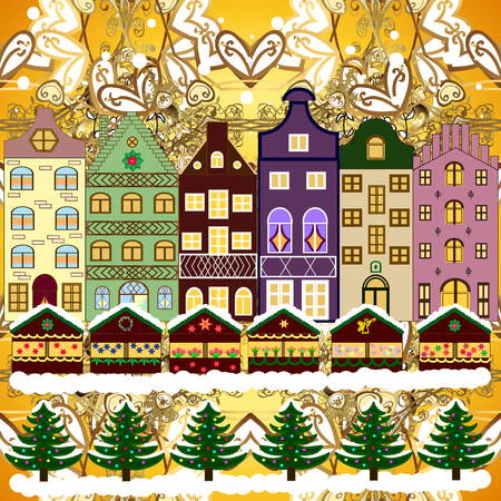 Background. Evening village winter landscape with snow cove houses. Vector illustration. Christmas winter scene. Illustration