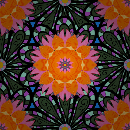 Vintage decorative element on a black, orange and green colors. Invitation with colored mandala. Vector pattern for wedding card illustration.