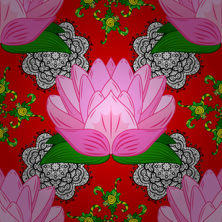 On red, pink and neutral colors. Seamless pattern in vintage style with bouquets of flowers.