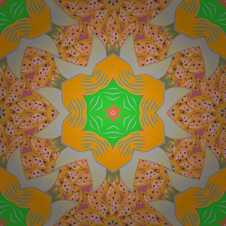 Rich ethnic striped seamless pattern geometric design. Mandala style. Colored mandala on yellow, orange and gray colors. Vector illustration.