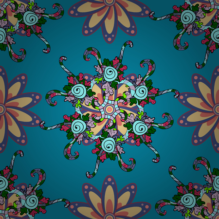 Vector circular abstract mandalas pattern. Colored Mandala on a blue, violet and black baqckground. Round ornament with intertwined branches, flowers and curls. Arabesque. Çizim