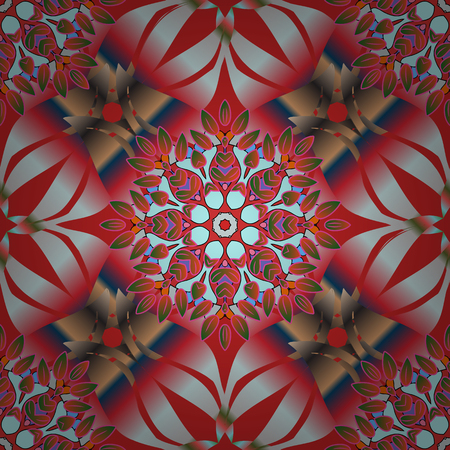 Red, pink and brown colors. Vector Mandala. Tiled mandala design, best for print fabric or papper and more. Boho style flower seamless pattern.
