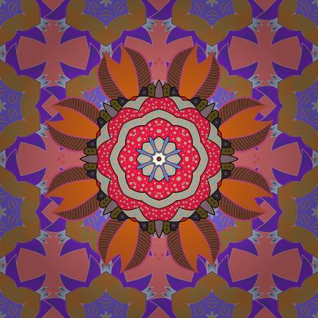 Invitation card. Vector vintage pattern. Mandala colored on a pink, orange and violet colors.