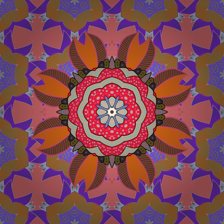 Invitation card. Vector vintage pattern. Mandala colored on a pink, orange and violet colors.