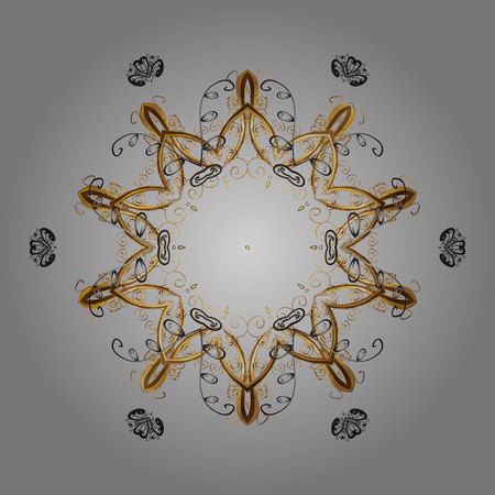 Snowflakes radial gray, brown and beige colors. Isolated nice snowflakes on colorful background.Vector illustration. 일러스트