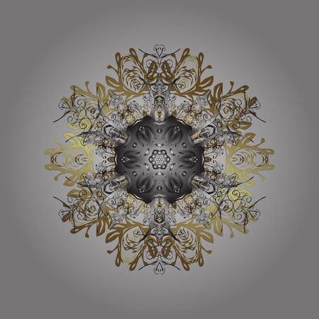 Design on gray, brown and neutral colors. Abstract background with Floral Elements. Vector illustration.