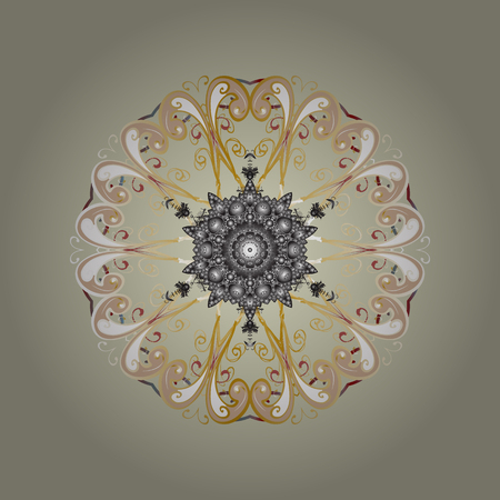 Christmas Stylized neutral, beige and gray Snowflakes on a neutral, beige and gray colors. Vector illustration.