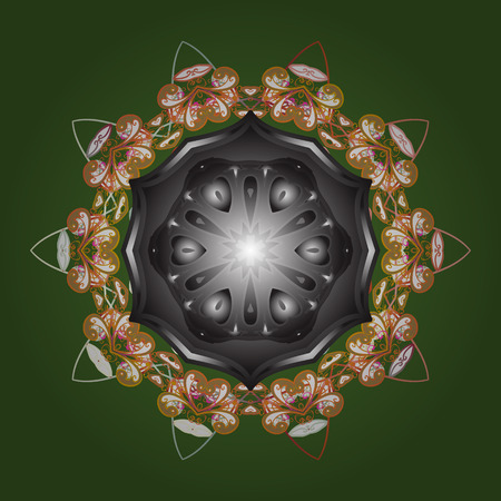 Vector illustration. Decorative christmas background with bokeh green, gray and oranges and snowflakes.