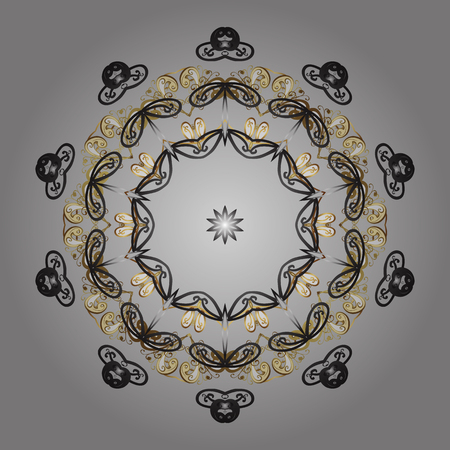 Winter concept. Vector illustration. Flat lay. Winter pattern made of snowflake on gray, brown and beige colors.