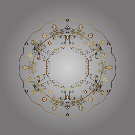 Abstract mandala or whimsical snowflake line art design. Isolated cute snowflakes on colorful background.