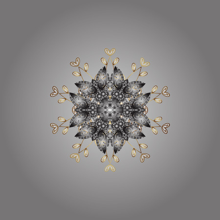Winter snowflake. Snowflake Vector illustration. Snowflake Icon. Isolated on gray, white and brown colors.