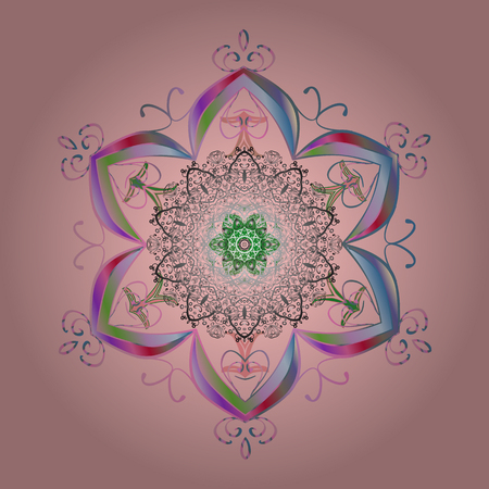 Winter concept illustration. Winter pattern made of snowflake on neutral, gray and pink colors.