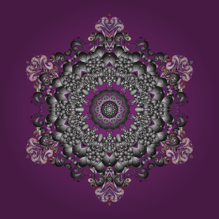 Design on purple, gray and neutral colors. Abstract background with Floral Elements. Vector winter pattern. Vector illustration. Vectores