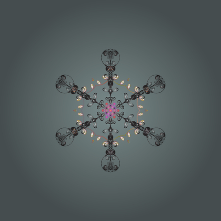 Isolated watercolor snowflakes on neutral, gray and white colors. Symbol of winter. Beautiful decoration illustration. Çizim