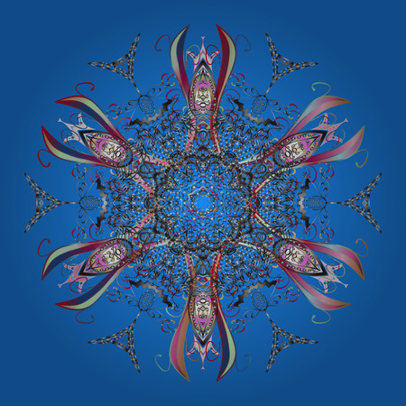 Concept d'hiver. Lay plat. Modèle d'hiver fait de flocon de neige sur les couleurs bleues, grises et neutres. Illustration vectorielle Banque d'images - 92027430