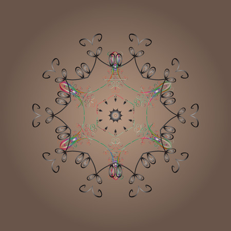 Contour beige, gray and green mandala shaped snowflakes for art therapy style zen drawing.