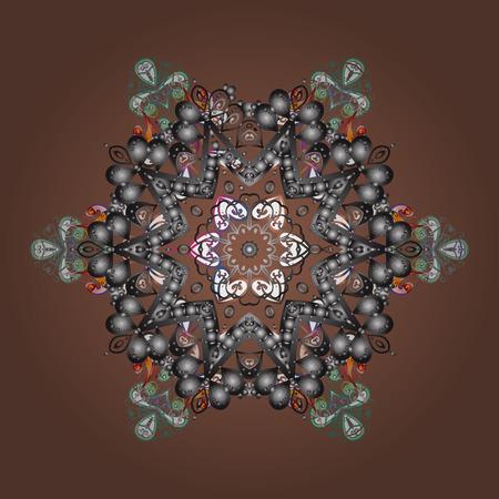 Cute pattern Christmas snowflakes illustration.  イラスト・ベクター素材