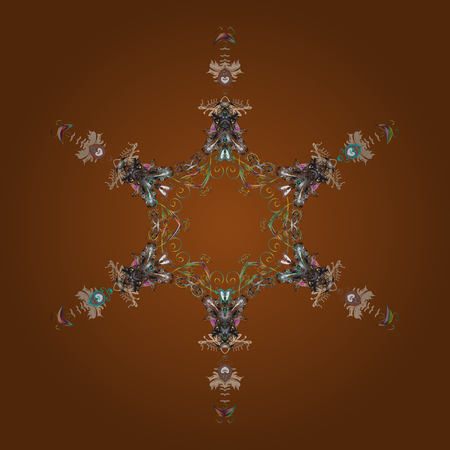 Winter Christmas snow flat crystal element. Illustration