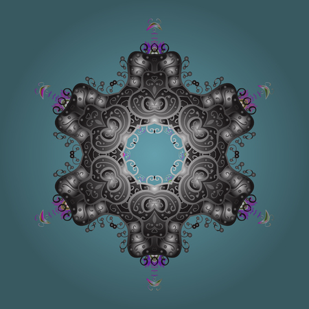 Abstract mandala or whimsical snowflake line art design.