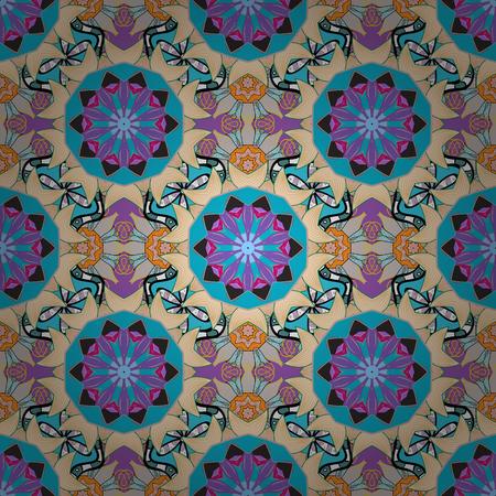 Tribal, Boho, Bohemian style. Ornament beige, blue and violet colored card with mandala. Geometric circle vector element. Kaleidoscope, medallion, yoga, india, arabic. 向量圖像