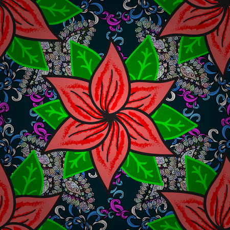 Background texture, sketch, floral theme in blue, green and pink colors. Abstract ethnic vector seamless pattern. Tribal art boho print, vintage flower background.