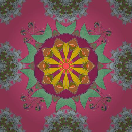 Modèle sans couture de l'été avec des fleurs stylisées. Rose, neutre et marron. Texture transparente de vecteur orné zentangle, modèle avec des mandalas floraux abstraits rose, couleurs. Pour le croquis, page Web. Banque d'images - 92039618