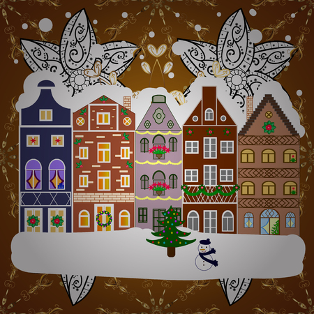 Winter house. Christmas and Happy New Year greeting card. Flat Vector illustration.