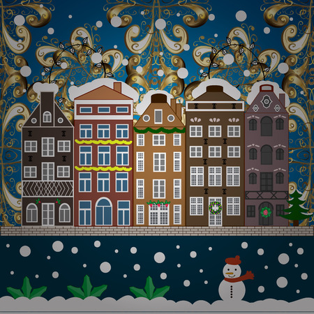 Greeting card. Vector illustration. Village in Christmas, banner on background with snow and snowflakes.