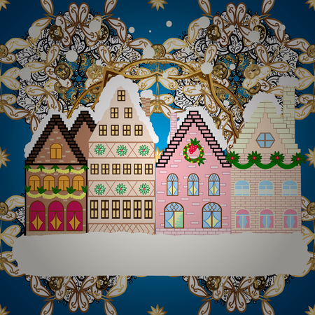 Winter day in cosy town street scene. Snowfall on Christmas eve. Buildings and facades. Classic European houses landscape with Christmas holiday decorations. Vector illustration. Vector illustration. Çizim