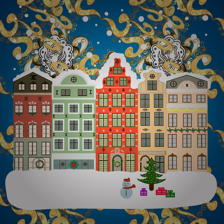 Village in Christmas, banner on background with snow and snowflakes. Greeting card. Vector illustration. Illustration