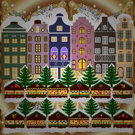 Fabric print. Fir-trees. Winter nature landscape. Vector illustration. Winter city with trees, cute houses, sun.
