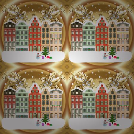 Evening city winter landscape with snow cove houses and christmas tree. Holidays Vector illustration. Ilustração
